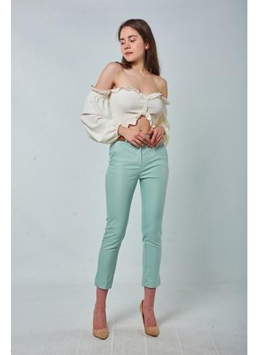 Coral  Kemerli Klasik Pantolon Mint Yeşılı Yeşil